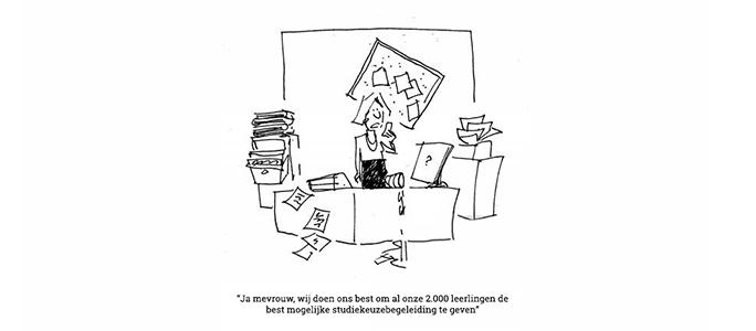 studiekeuzebegeleiding scholen cartoon